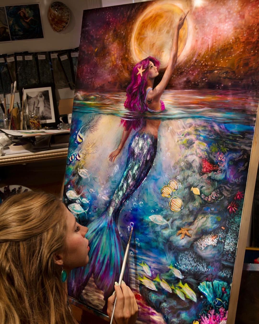 acrylic painting mermaid iracomleva