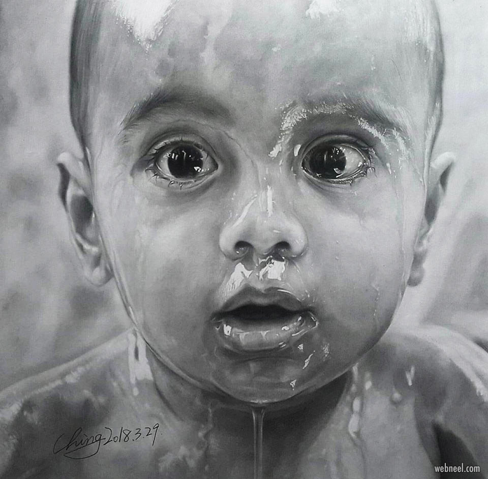 pencil drawing drawing kid by zhang zhenqing