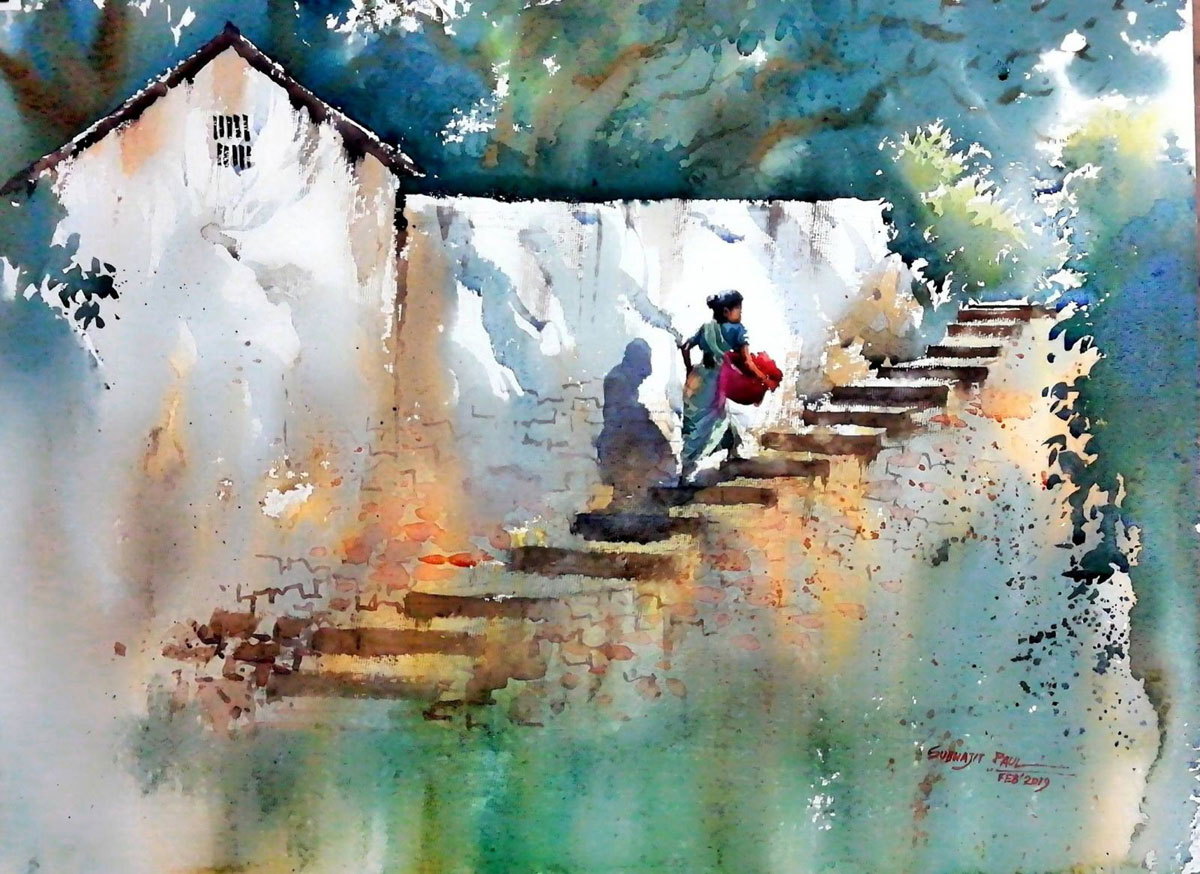 water color painting woman by subhajit paul
