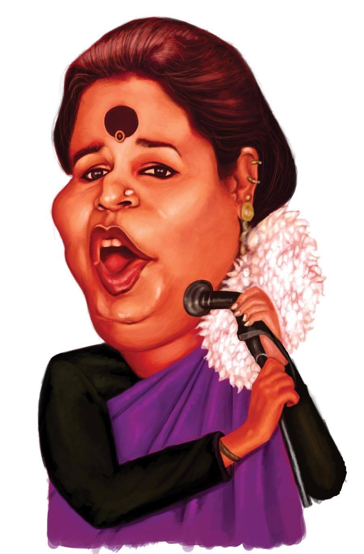 caricature usha uthup