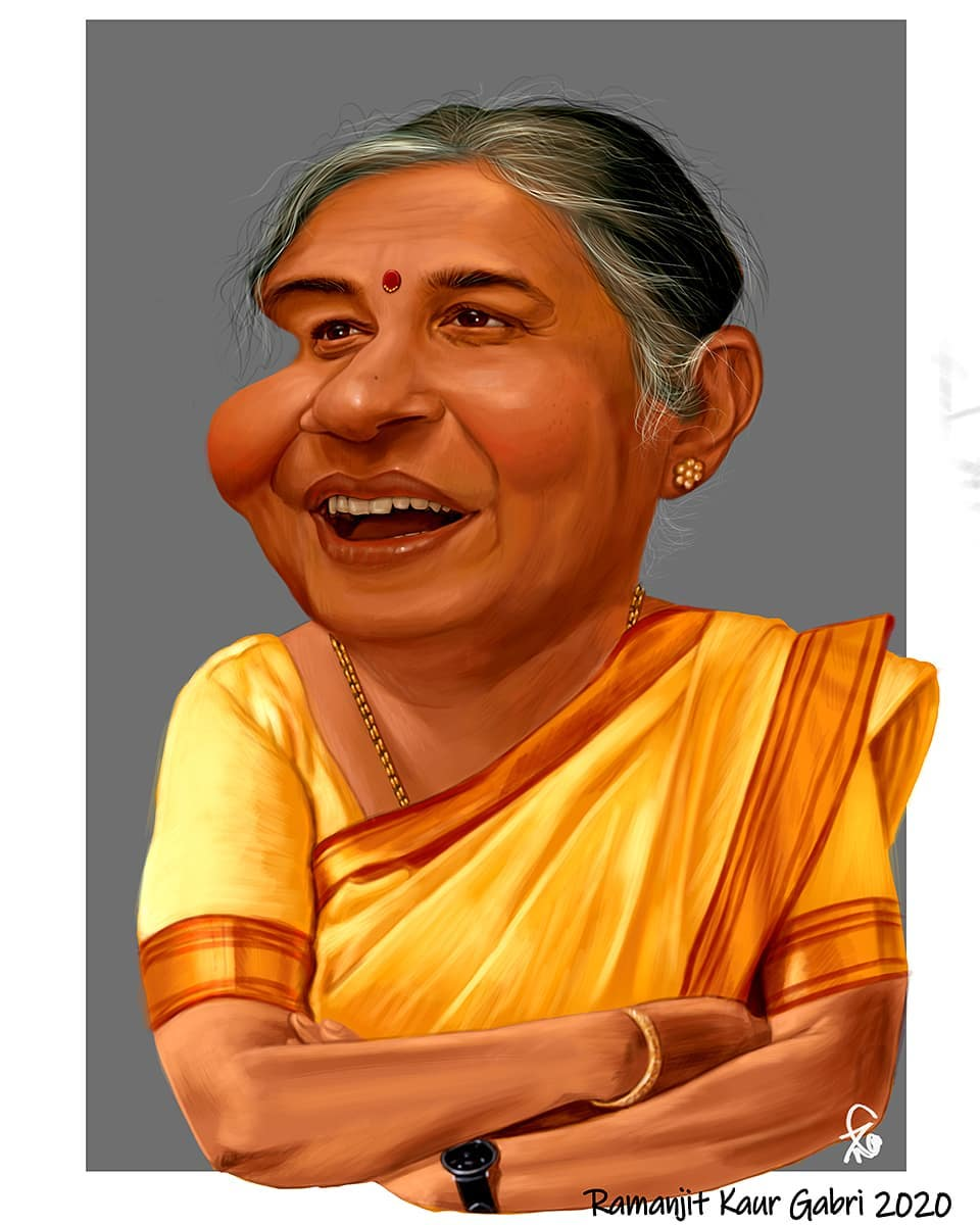caricature sudha murty by ramanjit kaur gabri