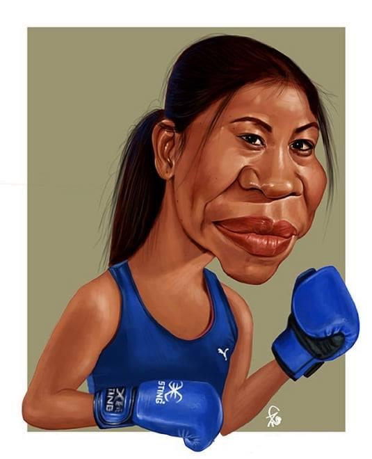 caricature mary kom