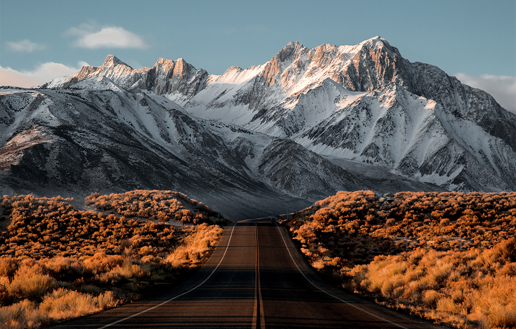 landscape photography white mountain with yellow road by jdusy