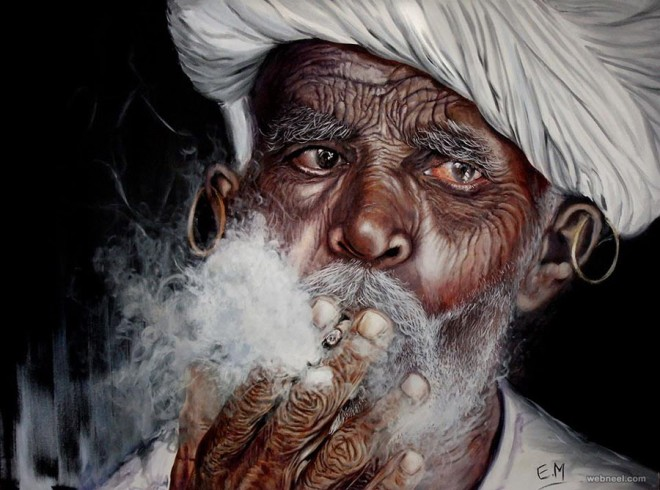 realistic painting indian