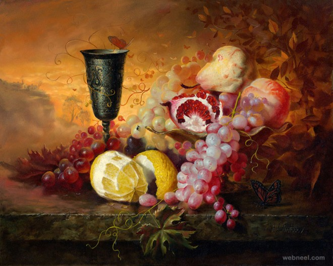 oil painting flowers fruits