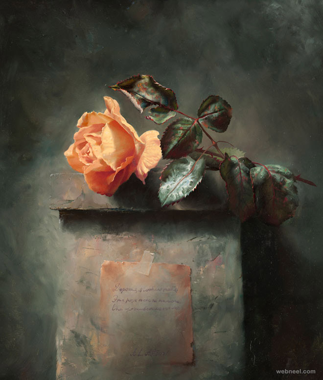 still life flower painting rose