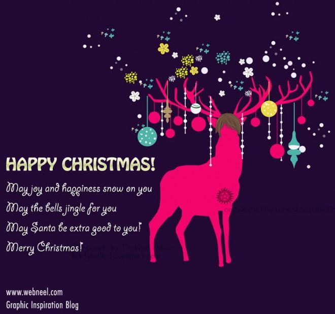 reindeer illustration beautiful christmas greeting card