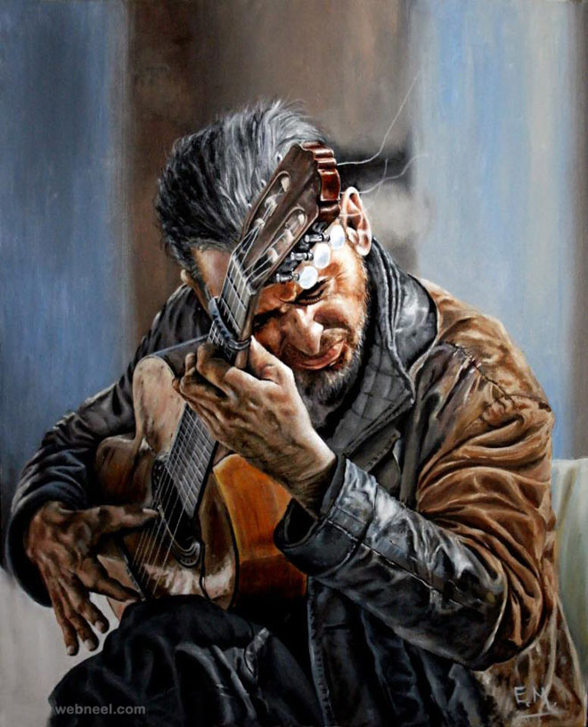 realistic painting musician