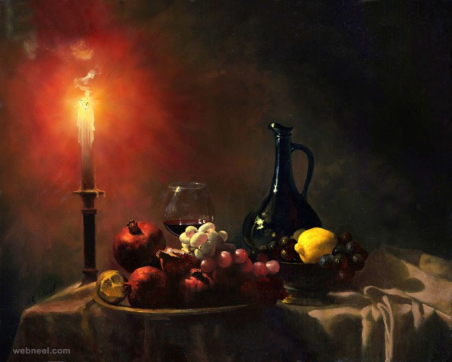 oil painting candle