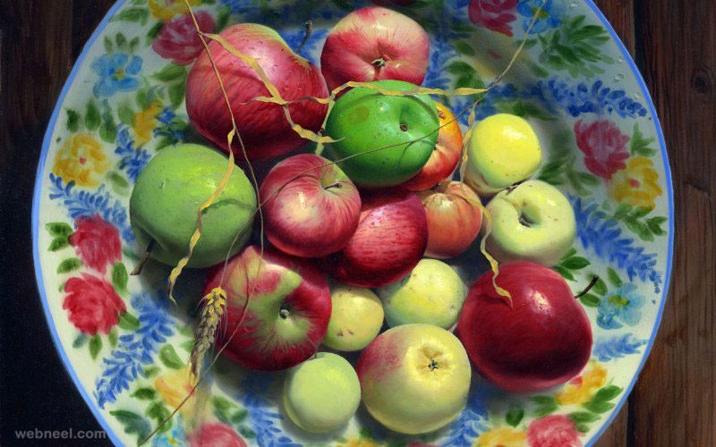 oil painting apple