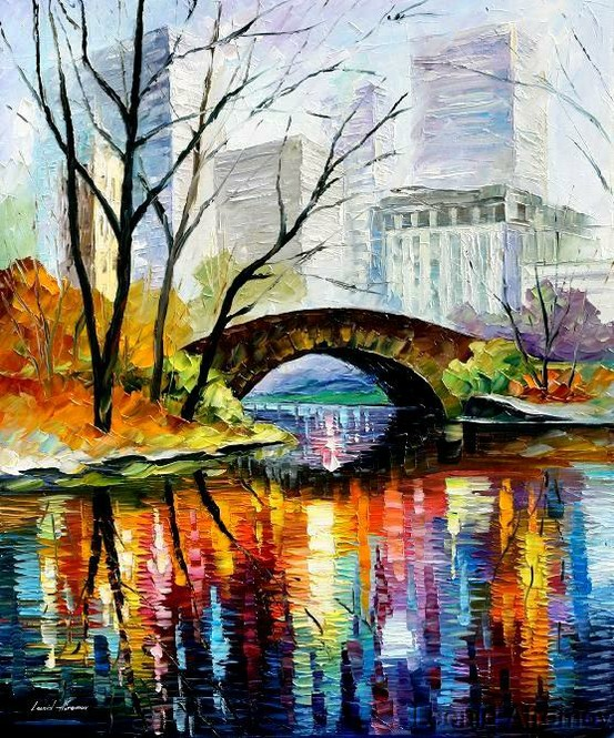 central park colorful painting by leonid afremov
