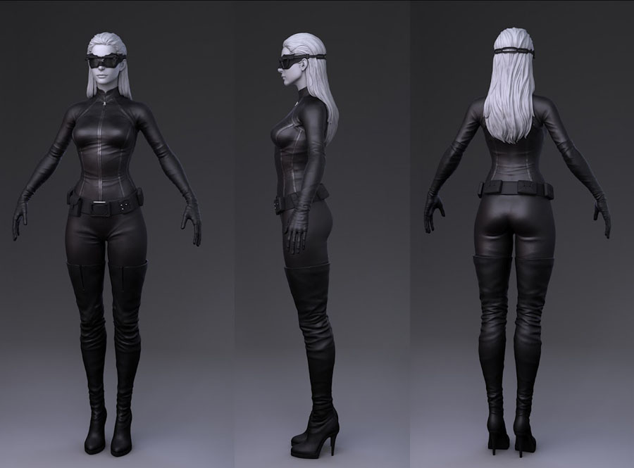Catwoman Anne Hathaway 3D Game Art 3