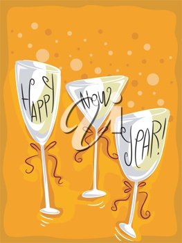llustration of wineglasses with a new year theme