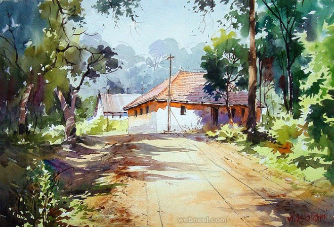 watercolor painting by vilas kulkarn