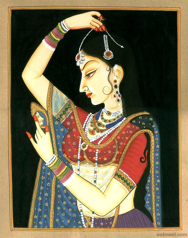 mughal paintings woman