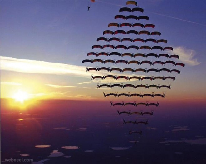 beautiful parachute formation