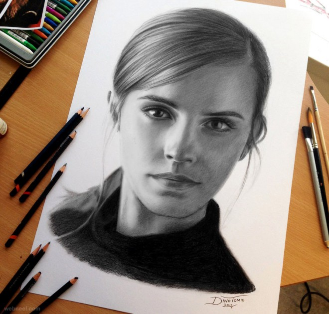 portrait pencil drawing emma by dinotomic