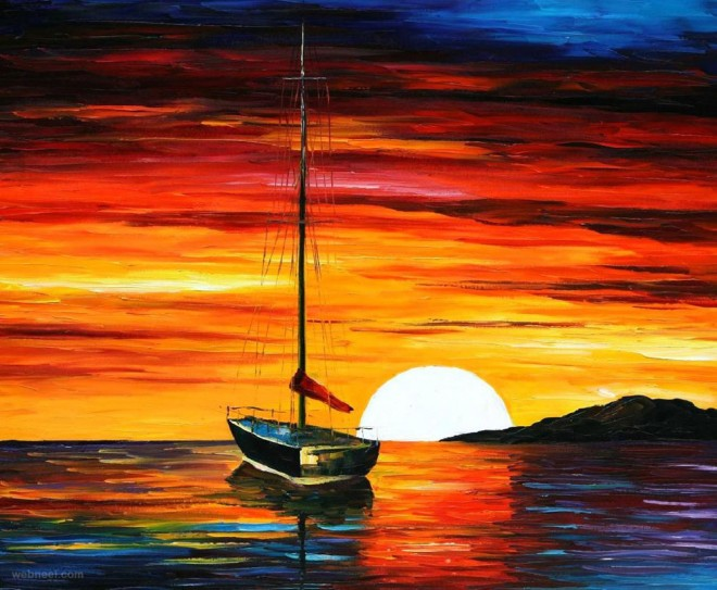 sunset painting leonid afremov