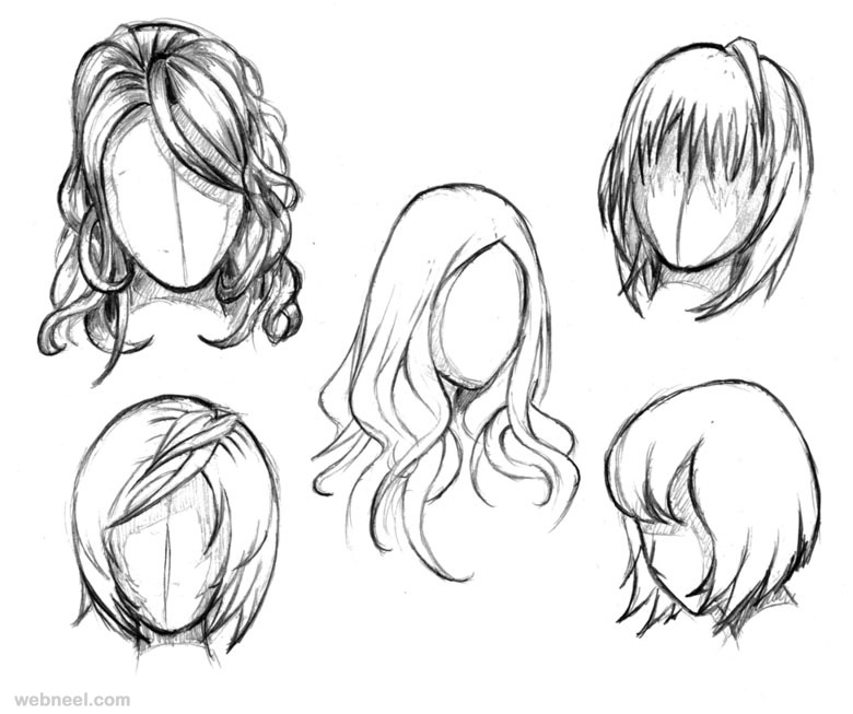 draw anime female hair