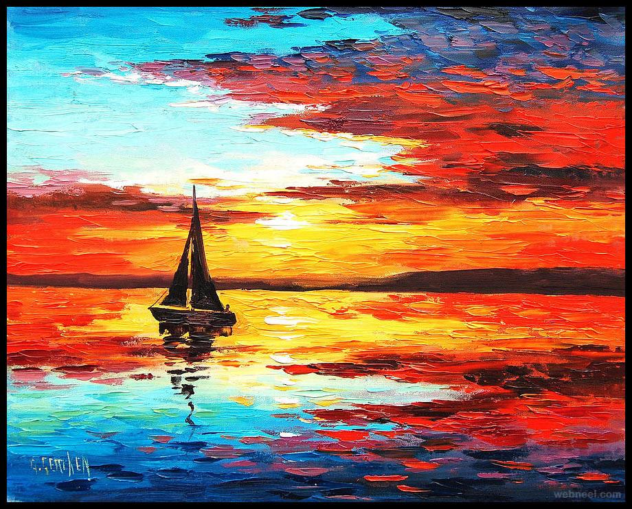 sunset painting gercken