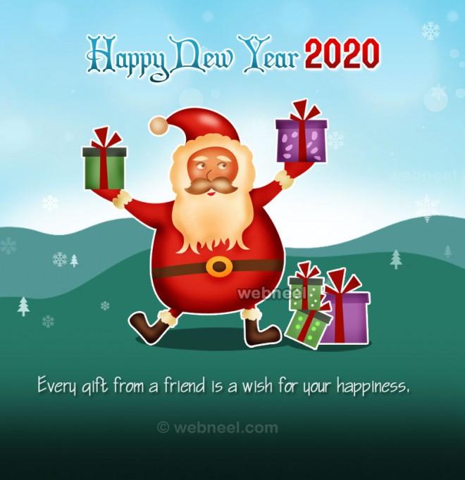 newyear greeting card santa 2020