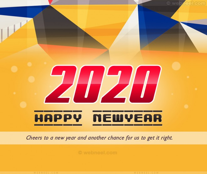 new year greetings card 2020