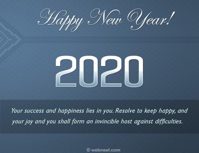 new year greetings card 2020