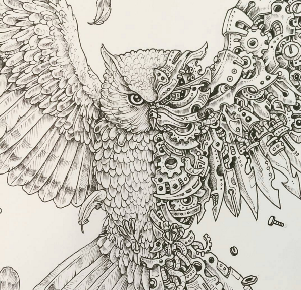 eagle scribble by kerby rosanes