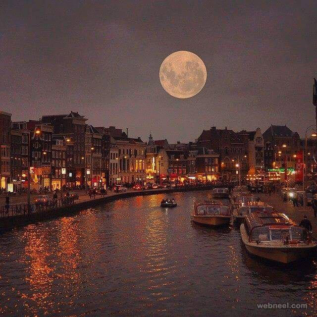 full moon in amsterdam photography by sert mehmet