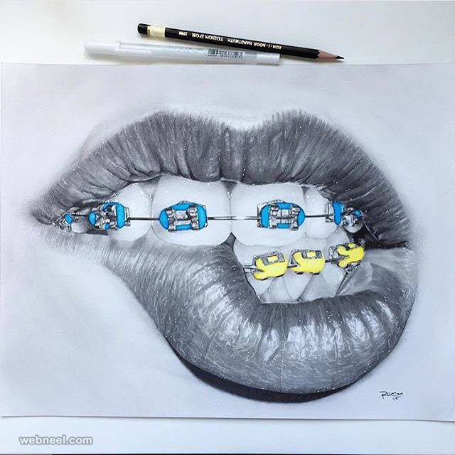 lips color pencil drawings by roman0701