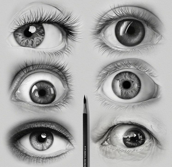 realistic drawing of eyes