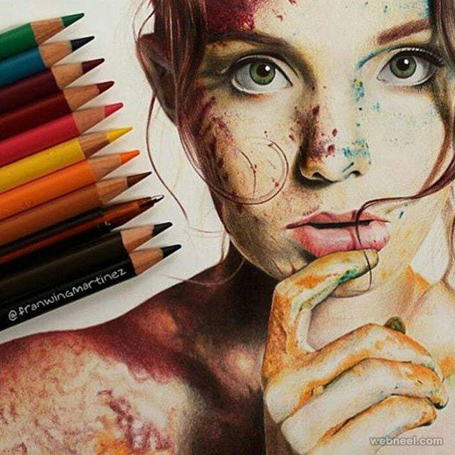 woman color pencil drawing by franwingmartinez