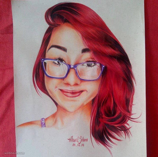 woman color pencil drawing by misael silvino