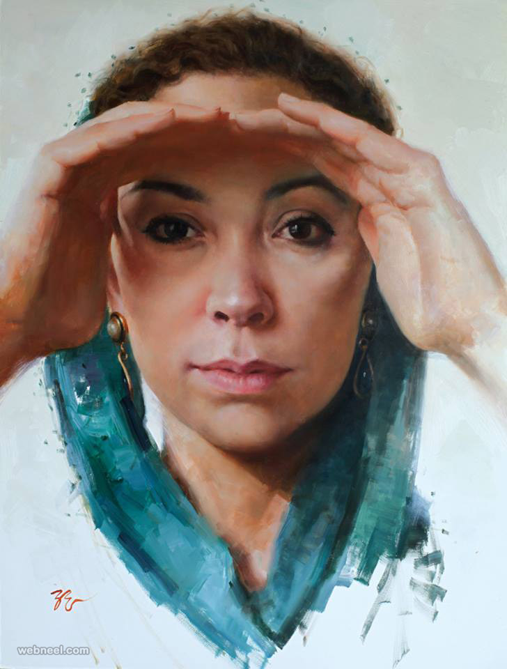 woman oil painting by zimou tan