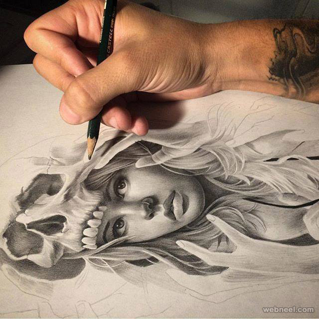 woman pencil drawing by davidgarciatattoo