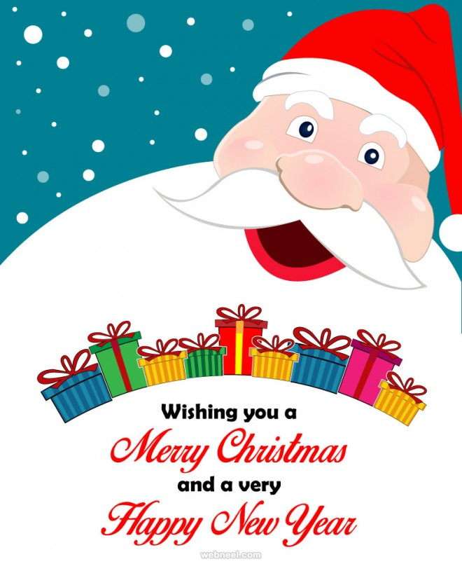 santa christmas greeting card design