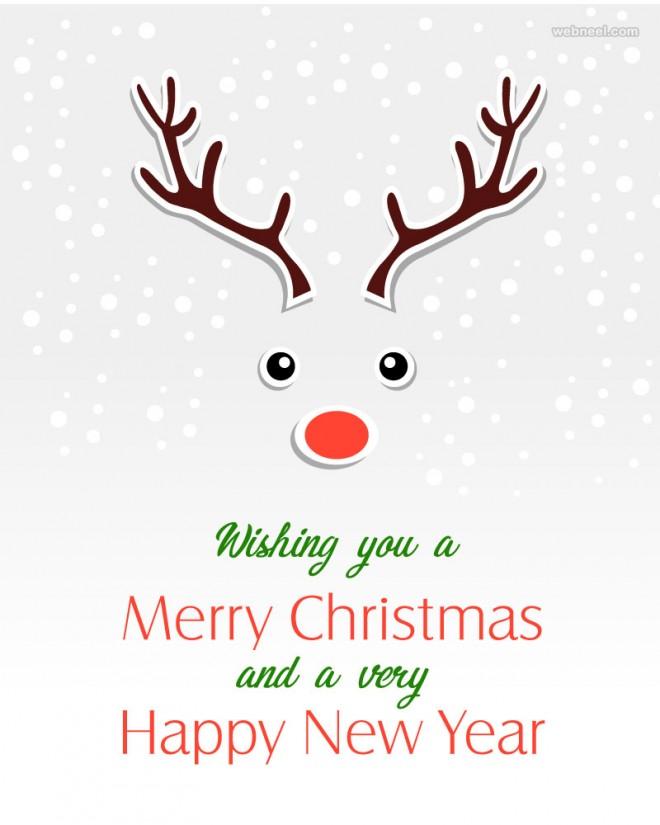 deer christmas greeting card design
