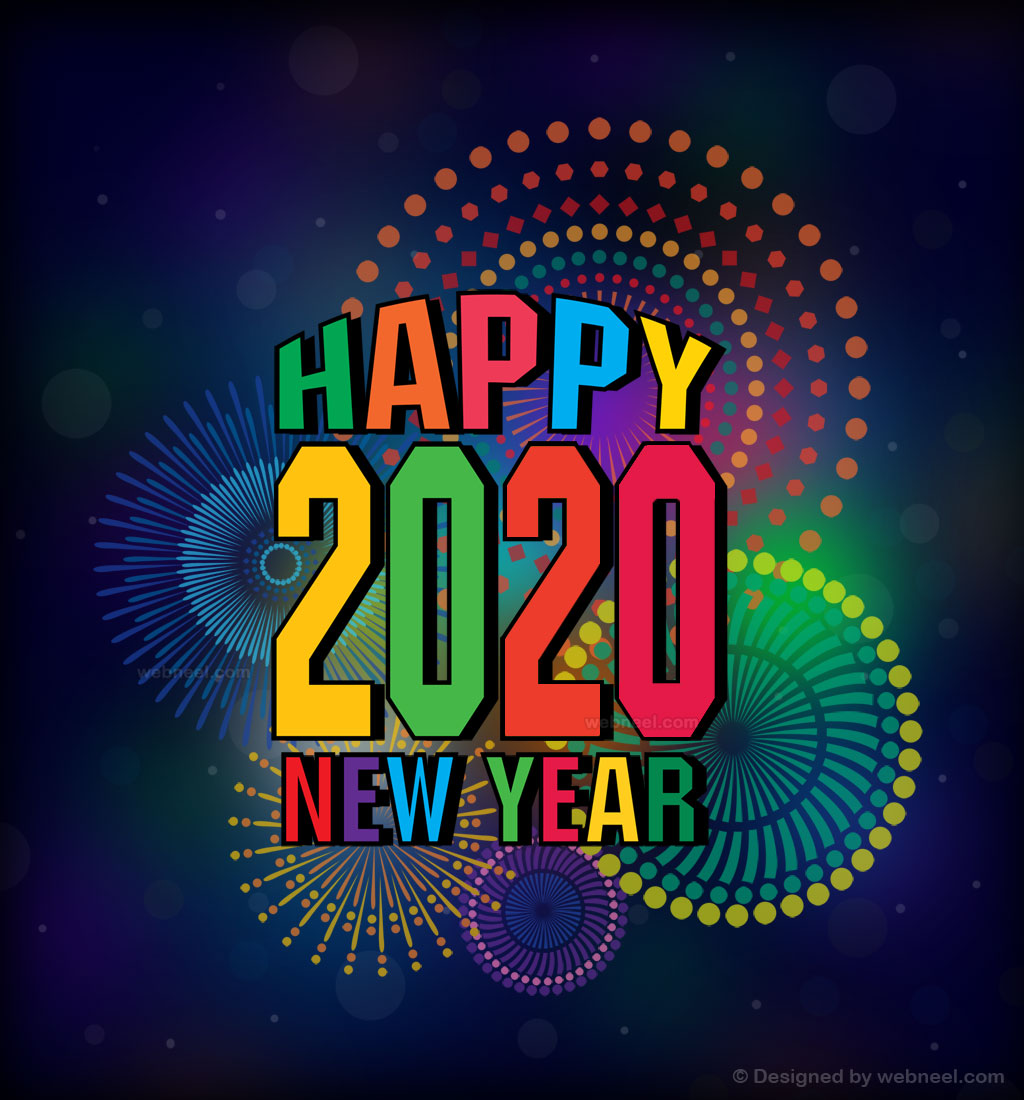 new year greeting card design 2020