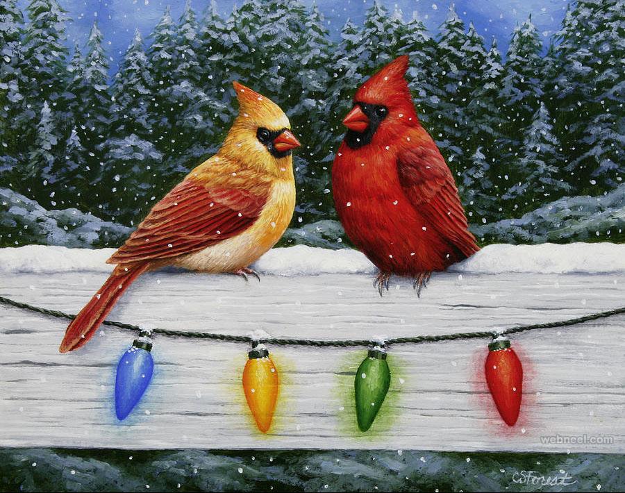 bird christmas painting crista forest