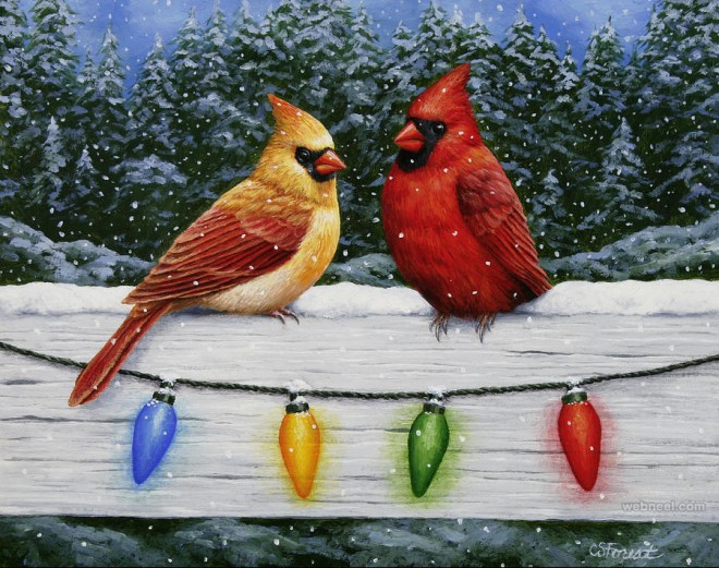 bird christmas painting crista forest