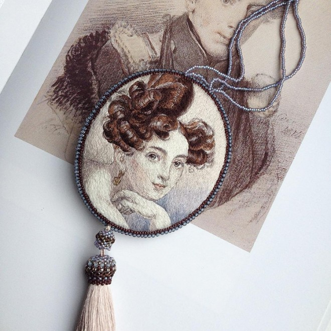 portrait embroidery art by maria vasilyeva