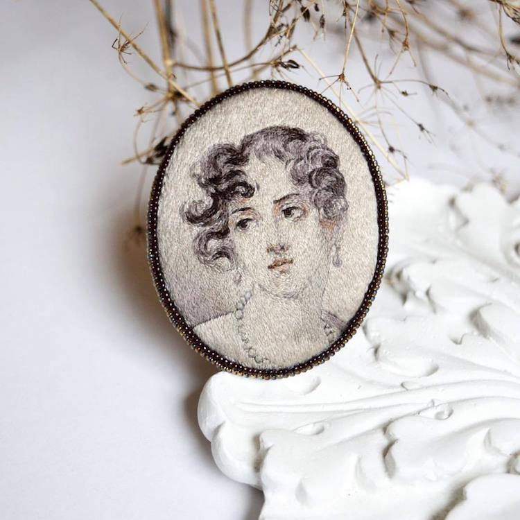 portrait embroidery art