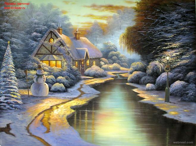 christmas painting by thomas kinkade