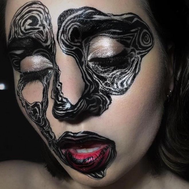 abstract face painting by evelen affleck
