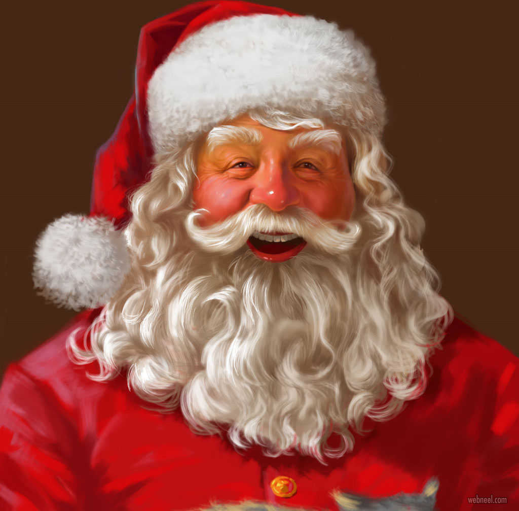funny santa claus digital painting pictures