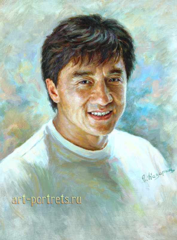 oil painting portrait jackie chan