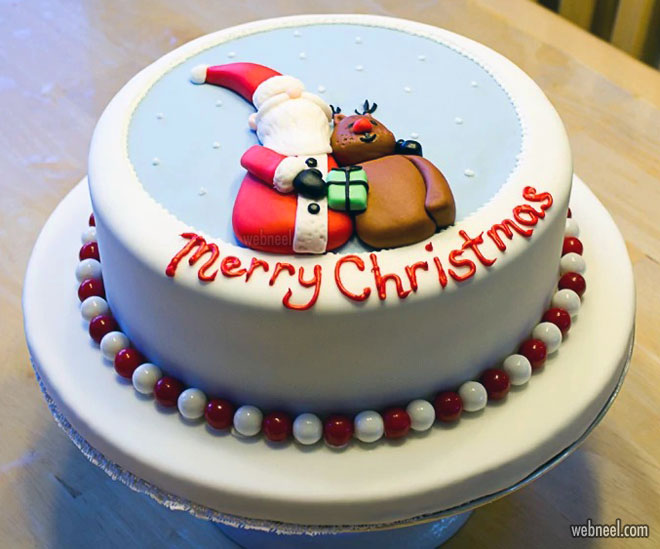 simple santa christmas cake decoration
