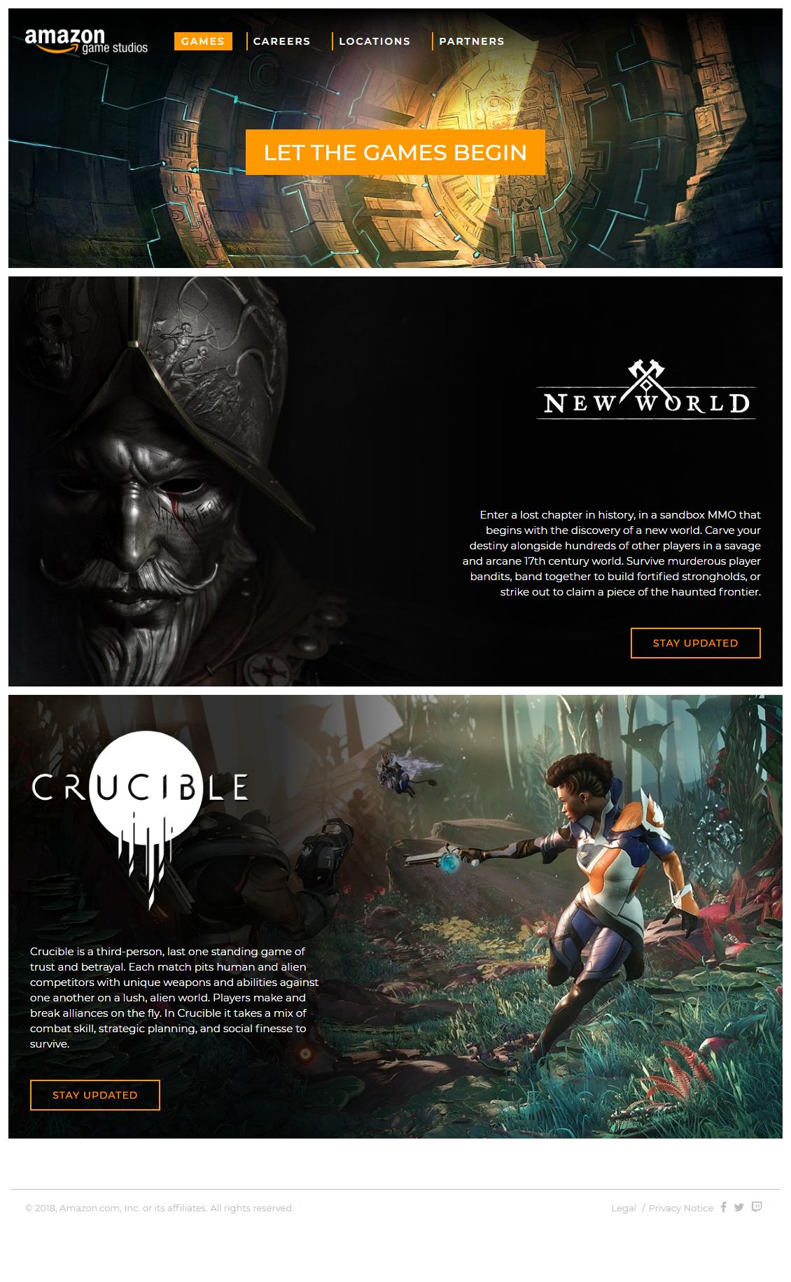 website design game amazon game studios