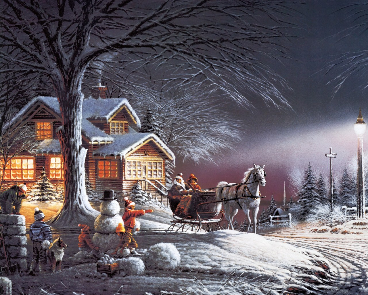 christmas painting snowman horse drawn