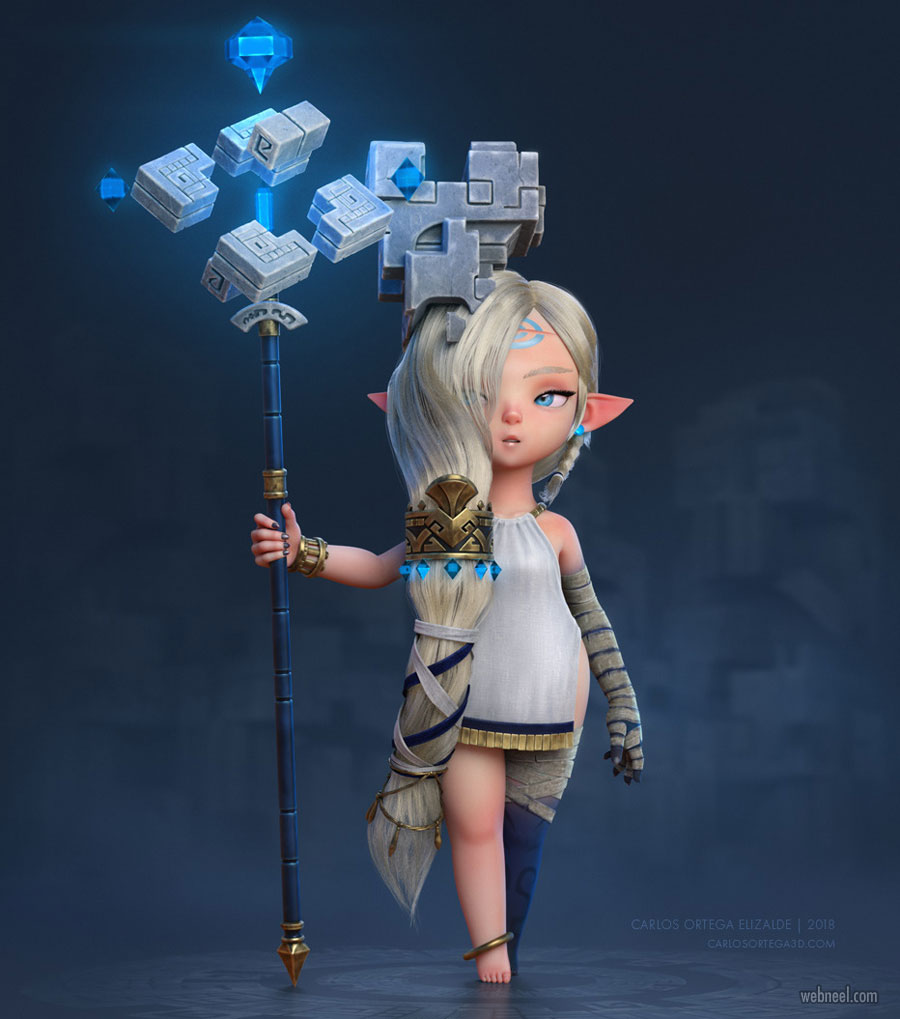 3d model cartoon girl character design